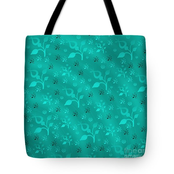 Turquoise Floral Mix Tote Bag by Gaspar Avila