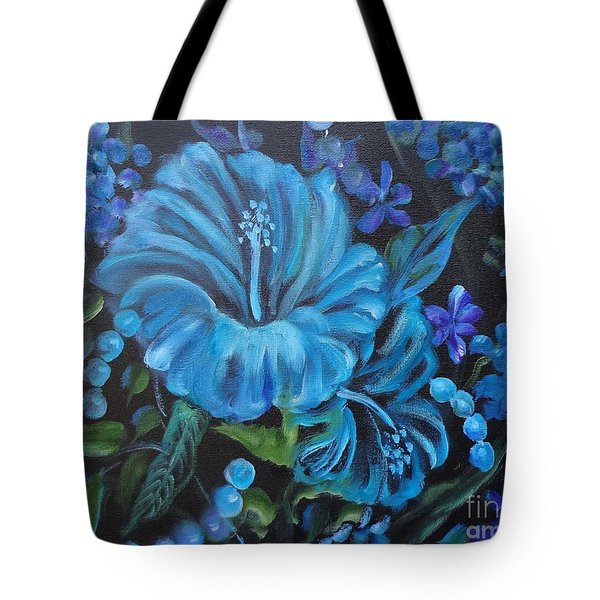 Turquoise Hibiscus Tote Bag by Jenny Lee