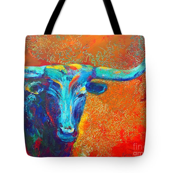 Tote Bag featuring the painting Turquoise Longhorn by Karen Kennedy Chatham