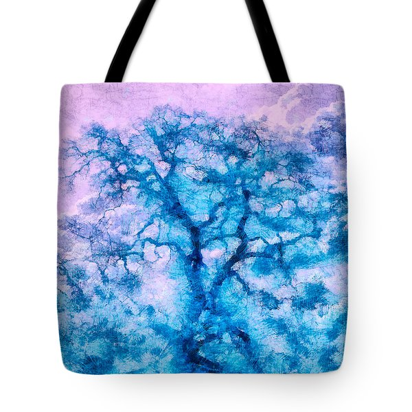 Turquoise Oak Tree Tote Bag