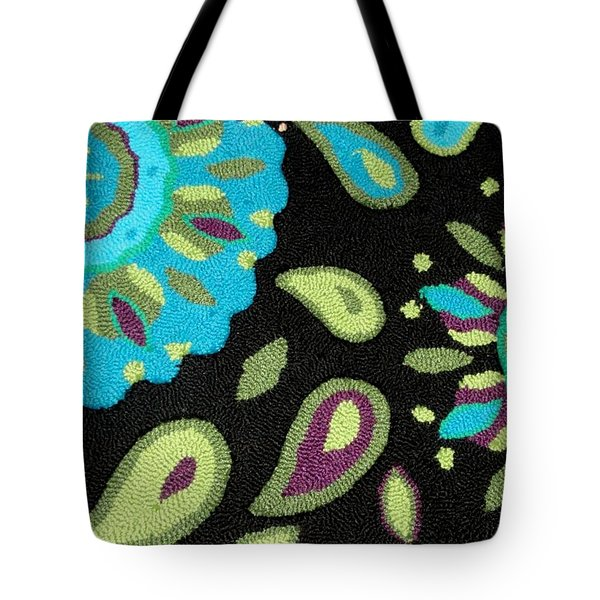 Tote Bag featuring the photograph Tapestry Turquoise Rug by Janette Boyd