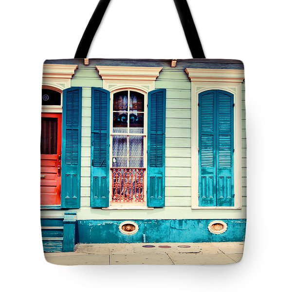 Tote Bag featuring the photograph Turquoise Shutters by Sylvia Cook
