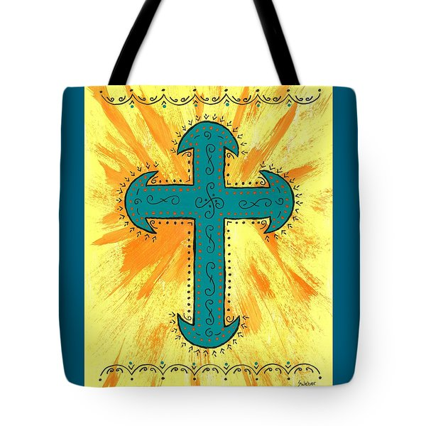 Tote Bag featuring the painting Turquoise Southwestern Cross by Susie Weber