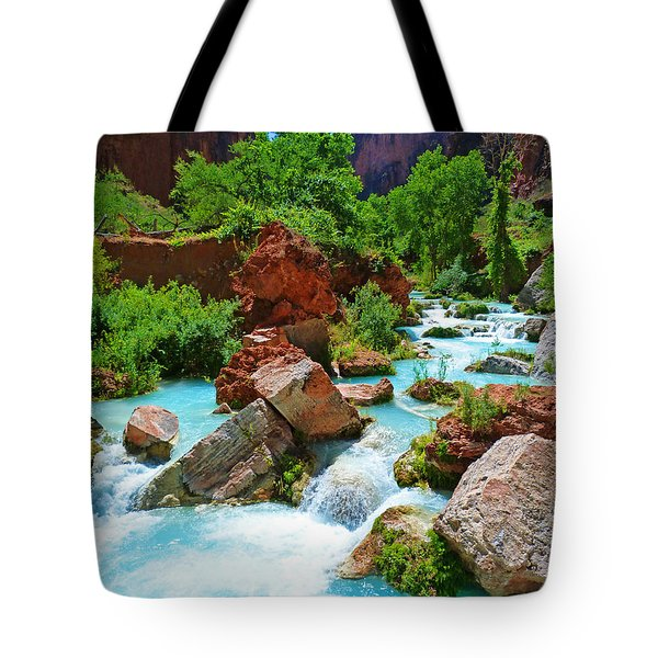 Turquoise Stream Tote Bag