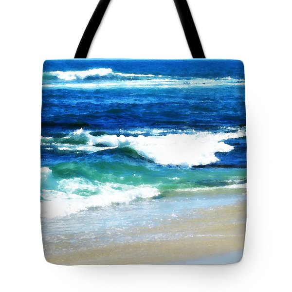 Turquoise Waves... Tote Bag by Sharon Soberon