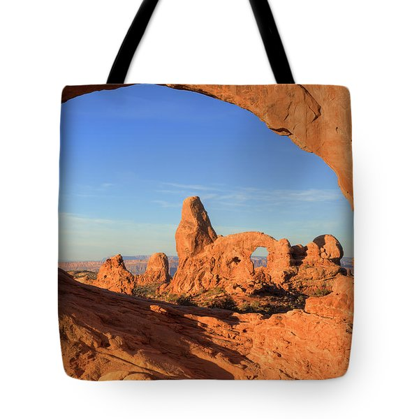 Tote Bag featuring the photograph Turret Arch Through North Window by Alan Vance Ley