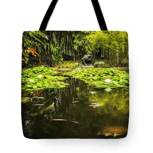 Turtle In A Lily Pond Tote Bag