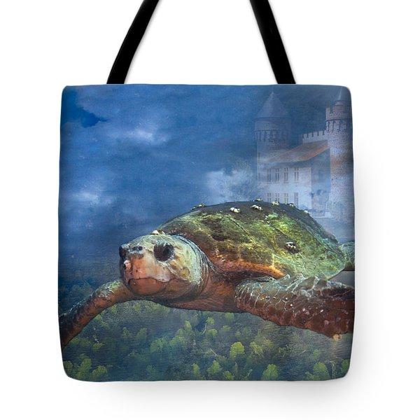 Turtle In Atlantis Tote Bag
