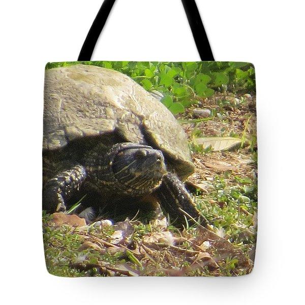Tote Bag featuring the photograph Turtle Up Close by Ella Kaye Dickey