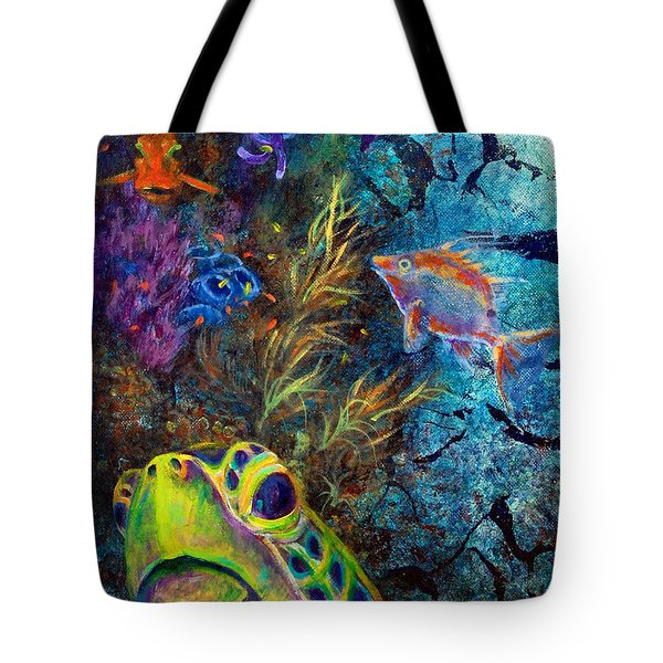 Tote Bag featuring the painting Turtle Wall 3 by Ashley Kujan