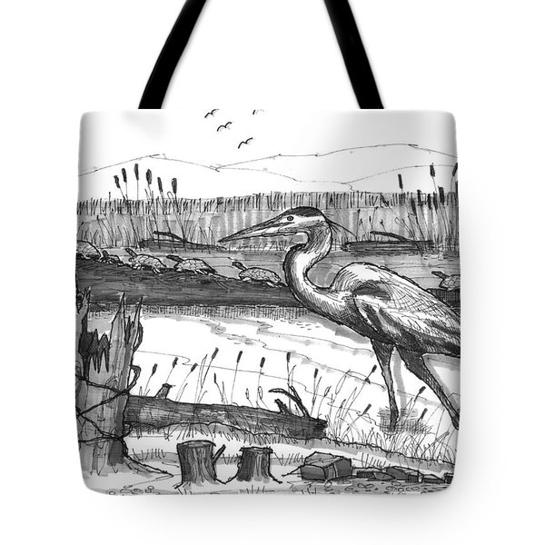 Tote Bag featuring the drawing Turtles And Heron by Richard Wambach
