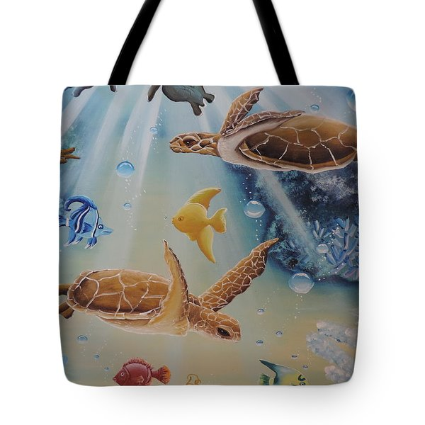 Turtles At Sea #2 Tote Bag by Dianna Lewis