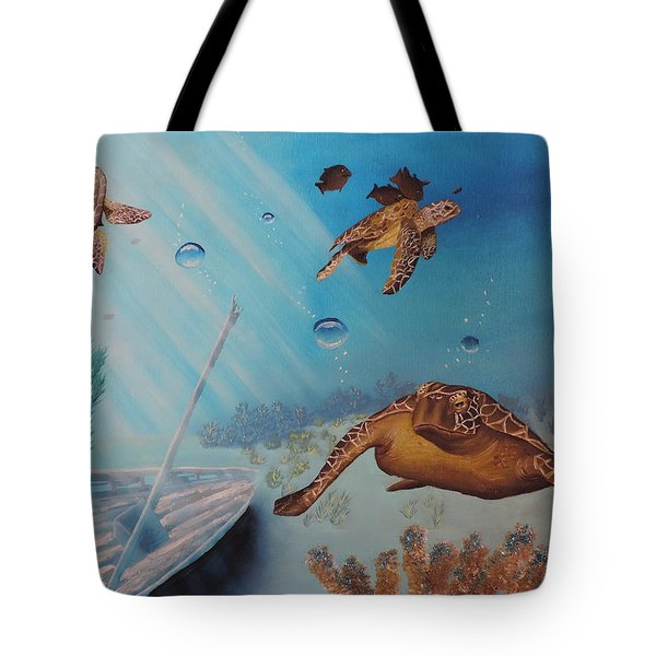 Turtles At Sea Tote Bag by Dianna Lewis