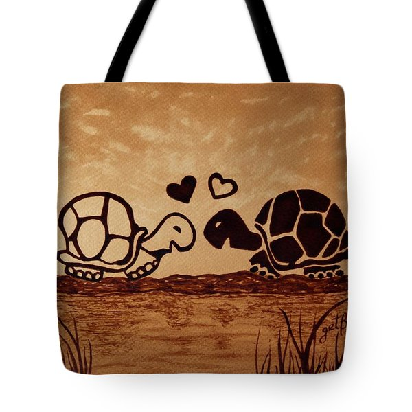 Turtles Love Coffee Painting Tote Bag