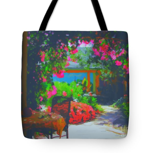 Tote Bag featuring the painting Tuscan Courtyard by Tim Gilliland