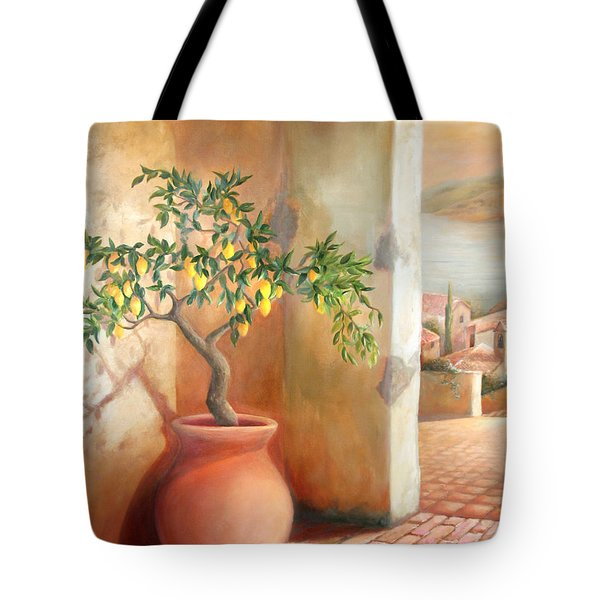 Tote Bag featuring the painting Tuscan Lemon Tree by Michael Rock