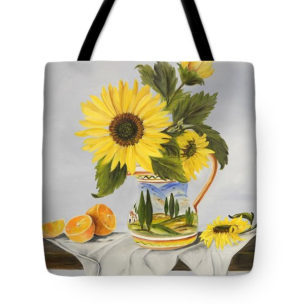 Tuscan Pitcher And Sunflowers Tote Bag
