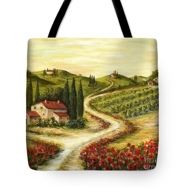Tuscan Road With Poppies Tote Bag