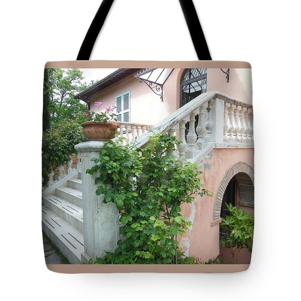 Tuscan Staircase With Flowers Tote Bag by Marilyn Dunlap