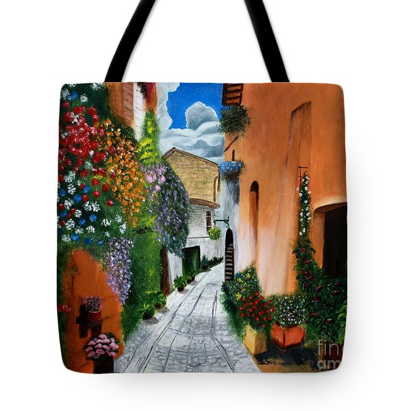 Tote Bag featuring the painting Tuscan Street Scene by Bev Conover