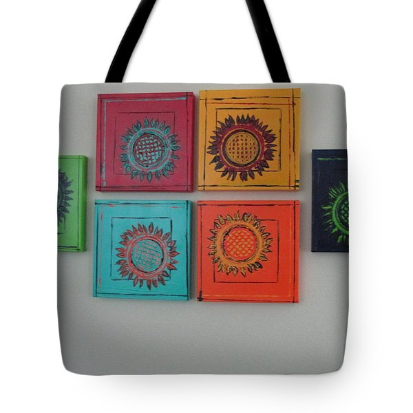 Tote Bag featuring the painting Tuscan Sunflowers by Sharyn Winters