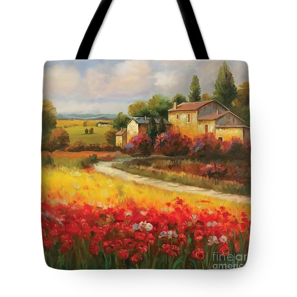 Tote Bag featuring the painting Tuscan Villa  by Tim Gilliland
