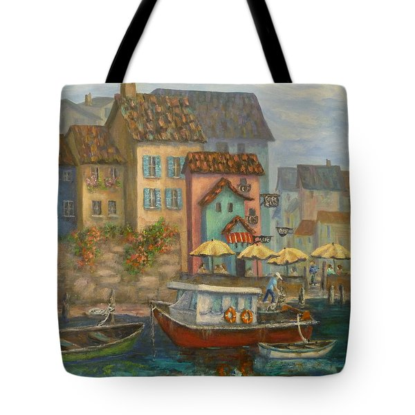 Tuscan Village Boat Paintings Tote Bag