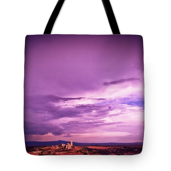 Tuscania Village With Approaching Storm  Italy Tote Bag by Silvia Ganora