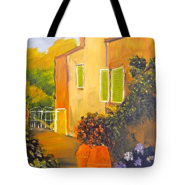Tote Bag featuring the painting Tuscany Courtyard by Pamela  Meredith