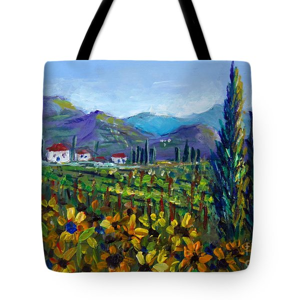 Tote Bag featuring the painting Tuscany Sunflowers Miniature by Lou Ann Bagnall