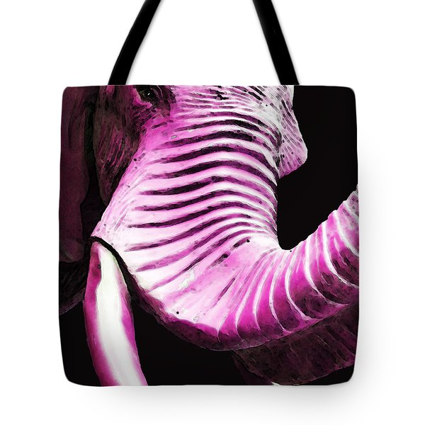 Tusk 2 - Pink Elephant Art Tote Bag by Sharon Cummings