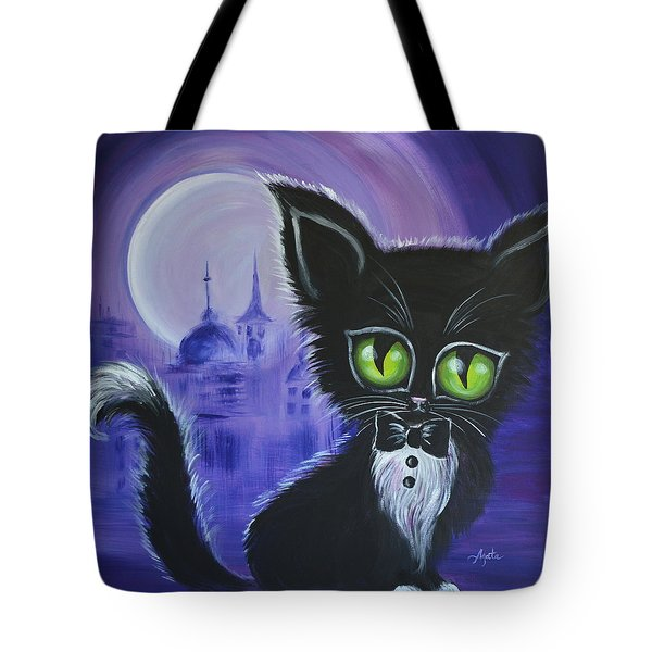 Tote Bag featuring the painting Tuxedo Cat by Agata Lindquist