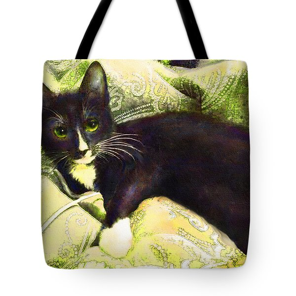 Tote Bag featuring the digital art Tuxedo Cat by Jane Schnetlage