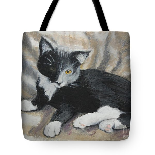 Tote Bag featuring the painting Tuxedo Kitten by Jeanne Fischer