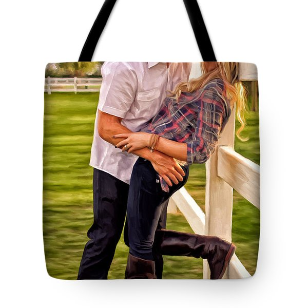 Tote Bag featuring the painting Twas Not My Lips You Kissed But My Soul by Michael Pickett