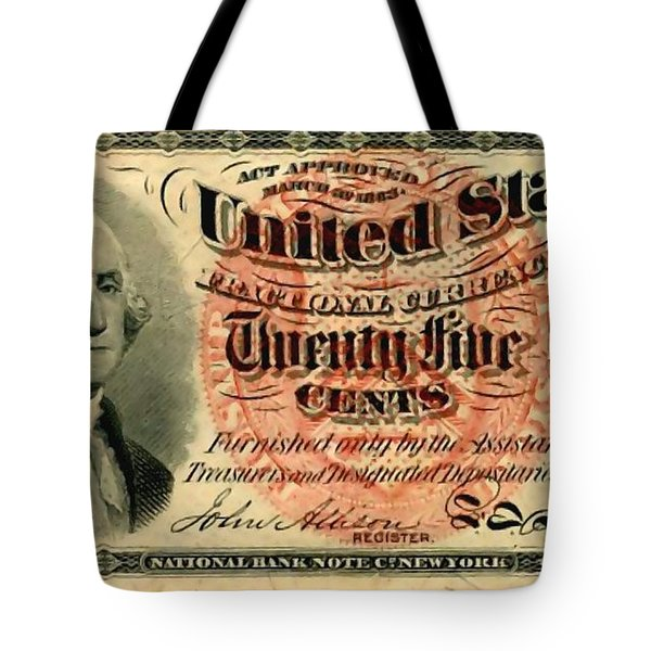 Twenty Five Cent 4th Issue U.s. Fractional Currency Fr 1302 Tote Bag by Lanjee Chee