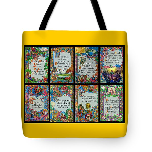 Twenty Third Psalm Collage 2 Tote Bag by Tikvah's Hope