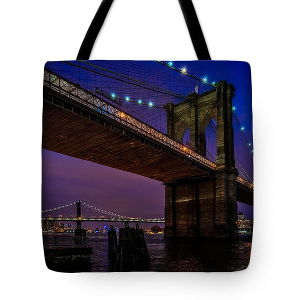Twilight At The Brooklyn Bridge Tote Bag