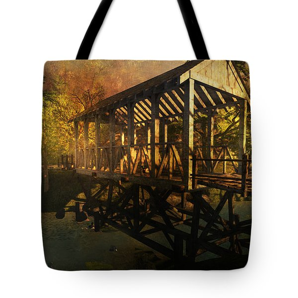Tote Bag featuring the digital art Twilight Bridge by Kylie Sabra