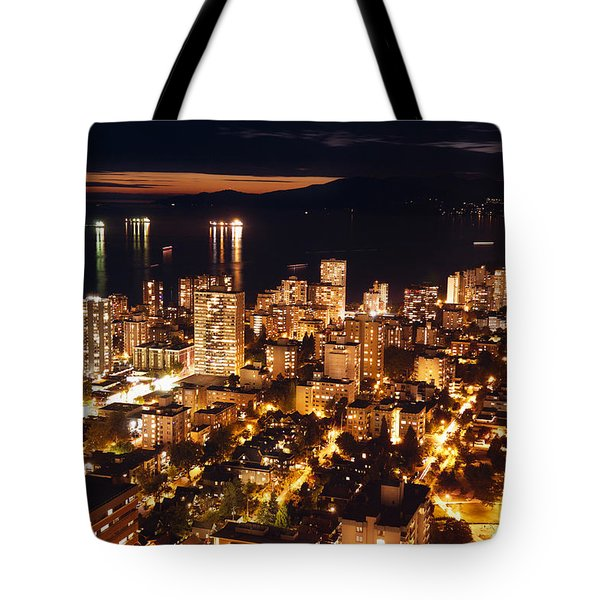 Tote Bag featuring the photograph Twilight English Bay Vancouver Mdlxvii by Amyn Nasser