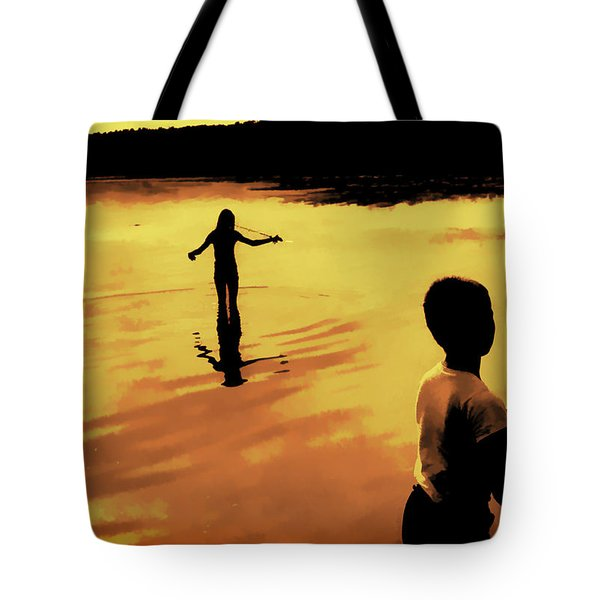 Tote Bag featuring the photograph Twilight Fishing by John Hansen