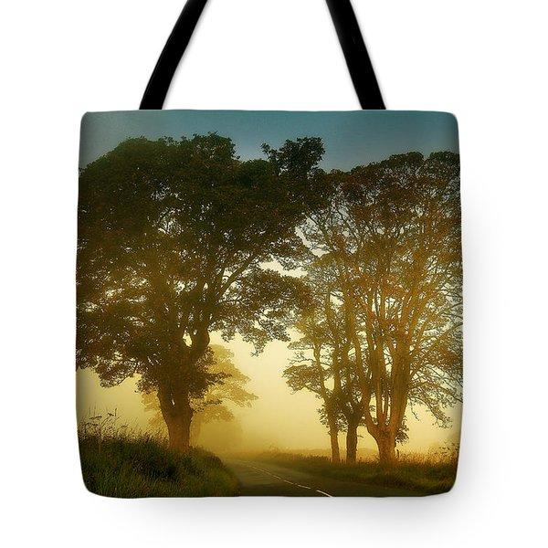 Twilight Guardians. Misty Roads Of Scotland Tote Bag by Jenny Rainbow