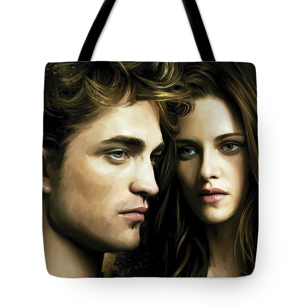 Tote Bag featuring the painting Twilight  Kristen Stewart And Robert Pattinson Artwork 4 by Sheraz A