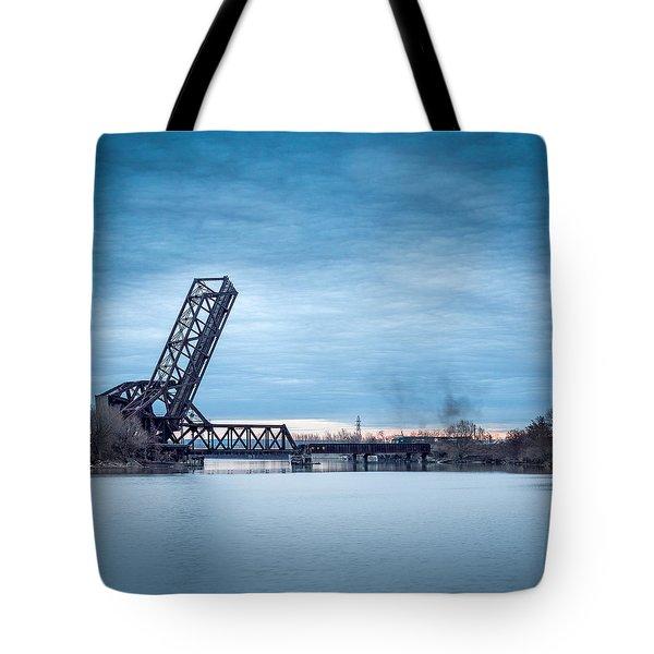 Twilight Locomotive Crossing Buffalo River Tote Bag