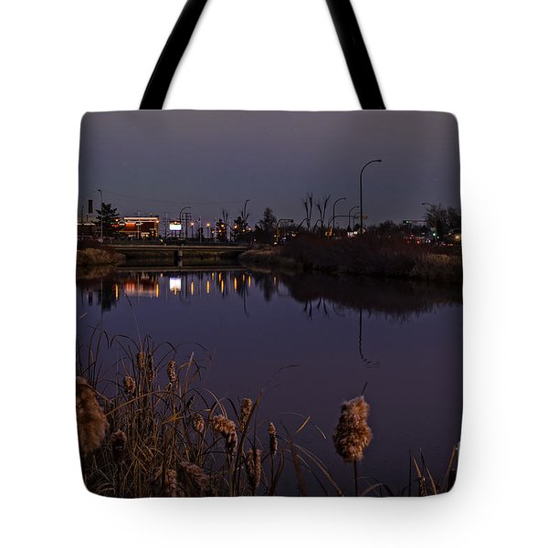 Twilight Over The River In Weyburn. Tote Bag