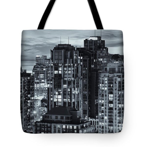 Tote Bag featuring the photograph Twilight On Cityscape Of Vancouver Overlooking English Bay - Greeting Card by Amyn Nasser