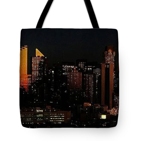 Tote Bag featuring the photograph Twilight Reflections On New York City by Lilliana Mendez