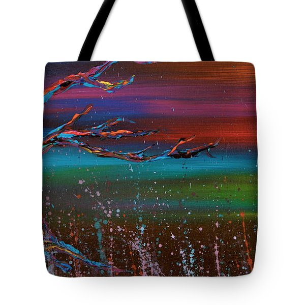 Tote Bag featuring the painting Twilight Sun by Jacqueline Athmann