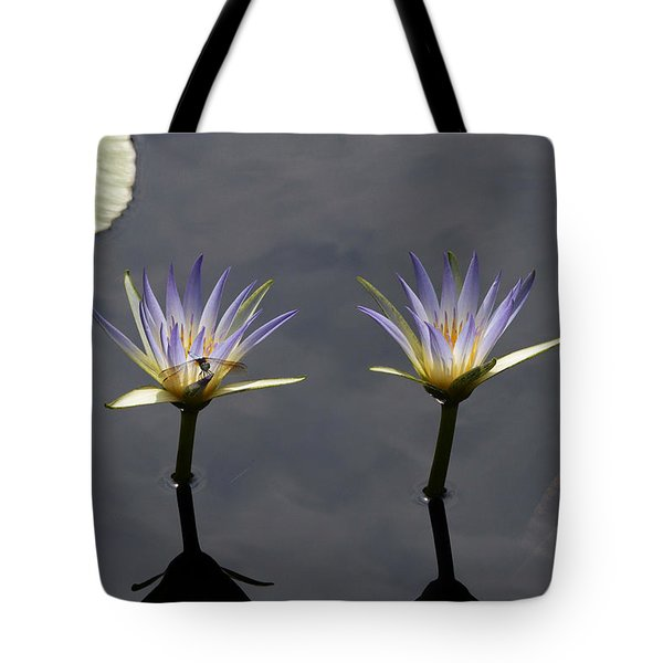 Twin Blue Egyptian Lotus Waterlilies And Dragonfly Tote Bag by Byron Varvarigos