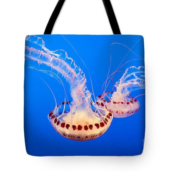 Twin Dancers - Large Colorful Jellyfish Atlantic Sea Nettle Chrysaora Quinquecirrha  Tote Bag by Jamie Pham